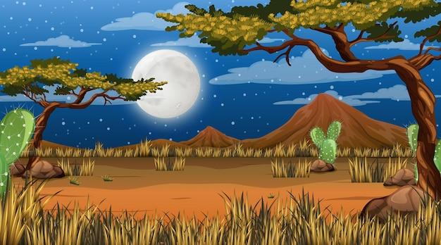 Пустынный лес или африканский лесной пейзаж в ночной сцене с большой луной в небе