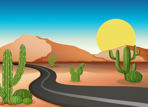 Desert ground with empty road