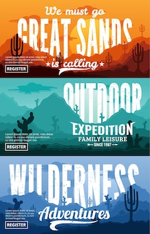 사막 가로 배너 세트. 선인장, 사막 허브, 구름과 산이있는 사막 야생의 자연 풍경