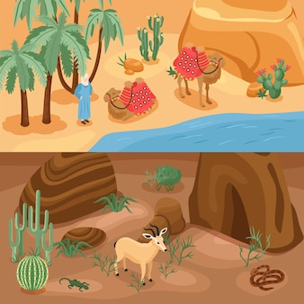 Desert horizontal banners set with camel and oasis isolated isometric illustration