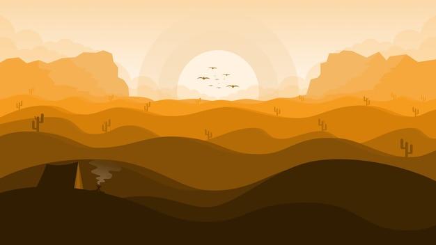 サボテンと砂漠のイラスト風景背景