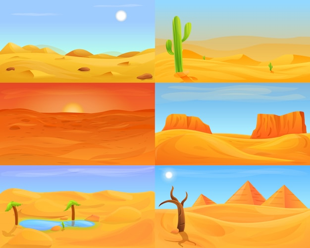 Desert illustration set, cartoon style