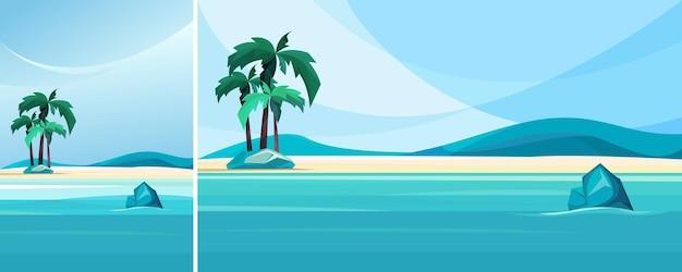 Побережье необитаемого острова. красивый морской пейзаж в вертикальной и горизонтальной ориентации.