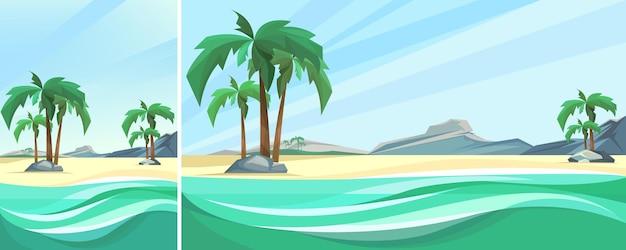 Побережье необитаемого острова с пальмами и горами. природный ландшафт в вертикальной и горизонтальной ориентации.