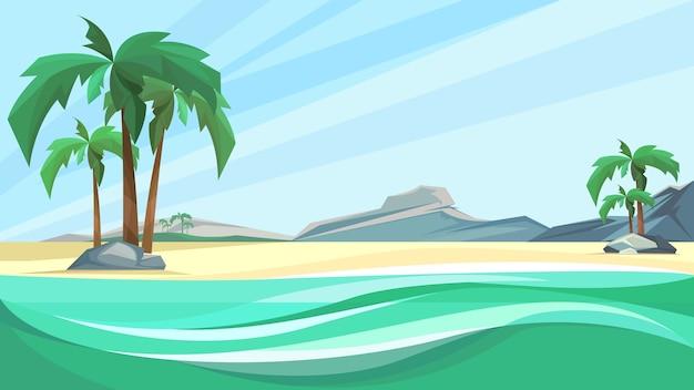 Побережье необитаемого острова с пальмами и горами