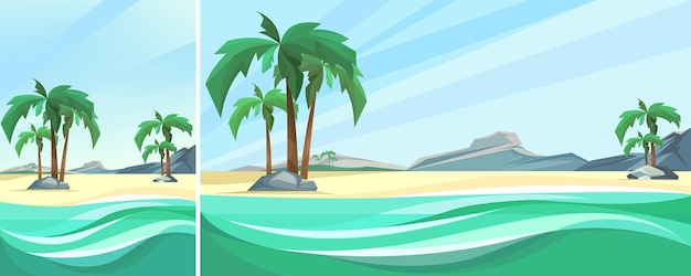 Desert island coast with palms and mountain. nature landscape in vertical and horizontal orientation.