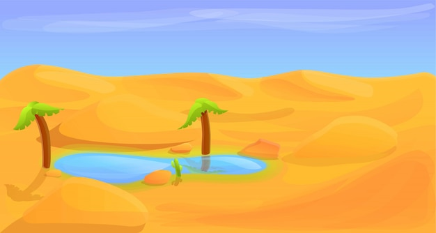 Desert lake  banner, cartoon style
