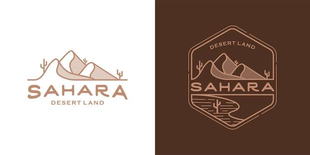 사막 토지 라인 아트 개념입니다. 사하라 사막 로고 일러스트 디자인 서식 파일
