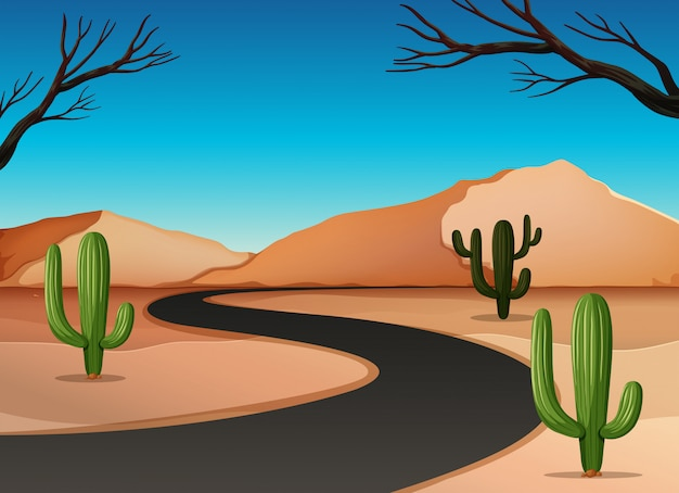 Desert land with road