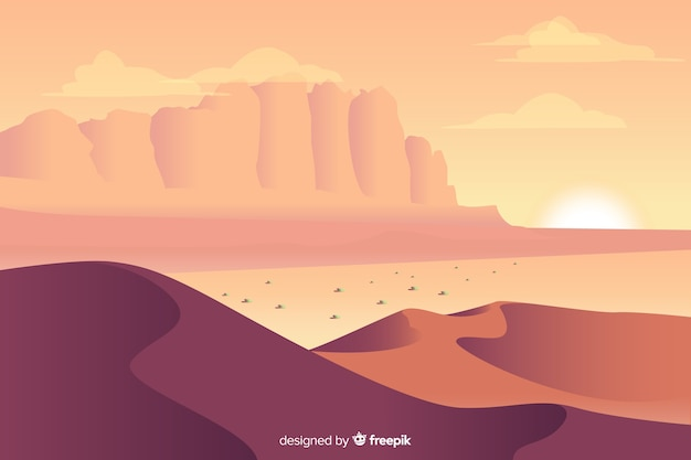 Desert landscape background in flat design