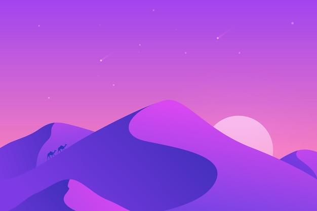 낙타와 달이있는 화상 회의를위한 사막 풍경 배경
