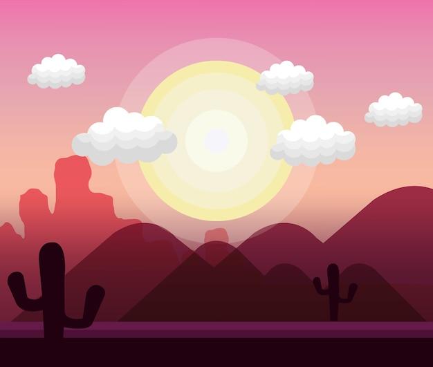 砂漠の風景の背景アイコンのベクトル図のデザイン