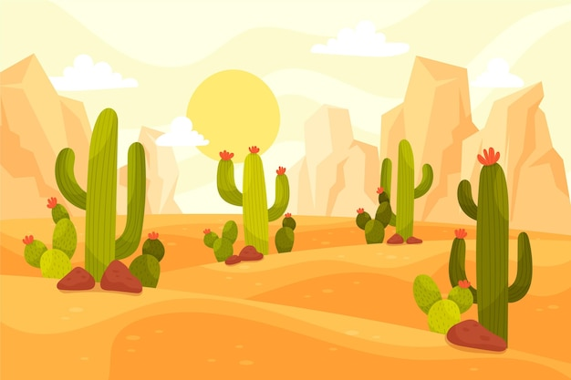 Desert landscape background illustrated