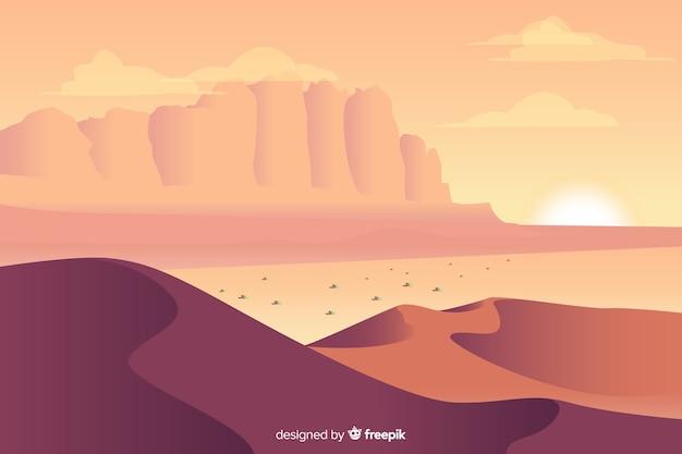 Пустынный пейзаж фона в плоском дизайне