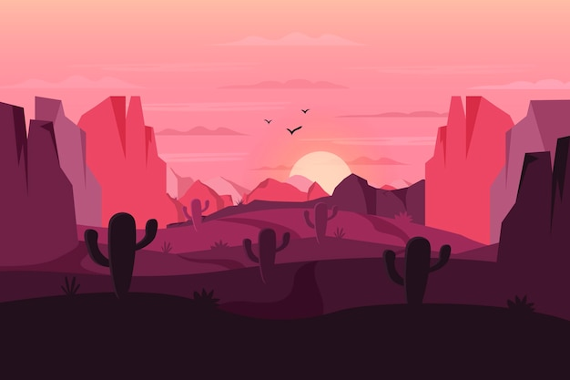 Desert landscape background for video conferencing with cactus