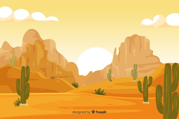 Desert landscape background with cacti