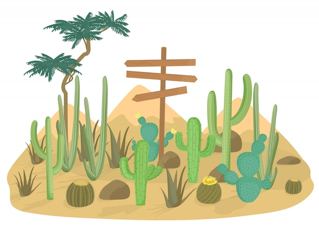 Desert landscape background with cactus and mountains. wooden road sign