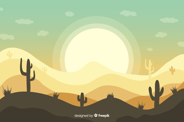 Desert landscape background with cactus and sun