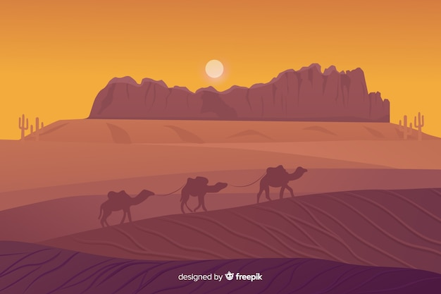 Desert landscape background with camels