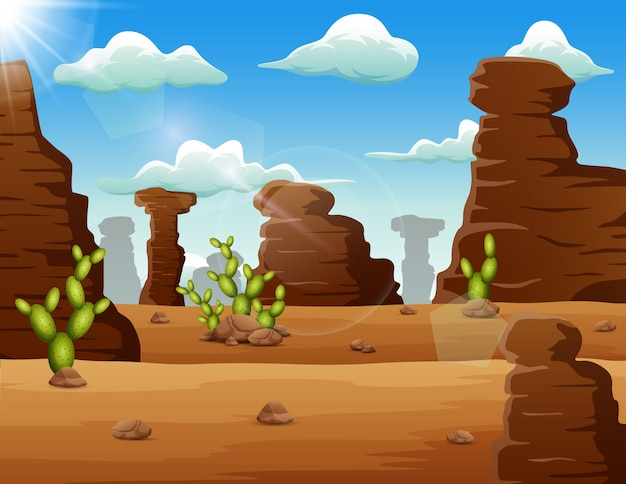 砂漠の風景の背景の岩とサボテン