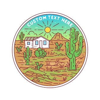 Desert landscape badge design