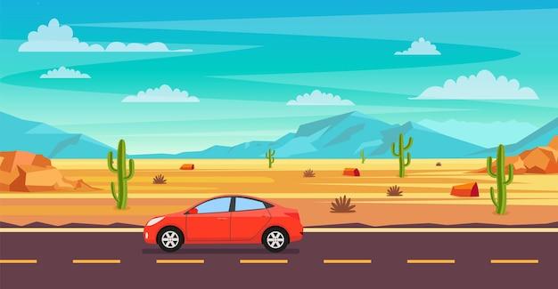 Пейзаж пустыни. кактусы, дорога и камни на песках.
