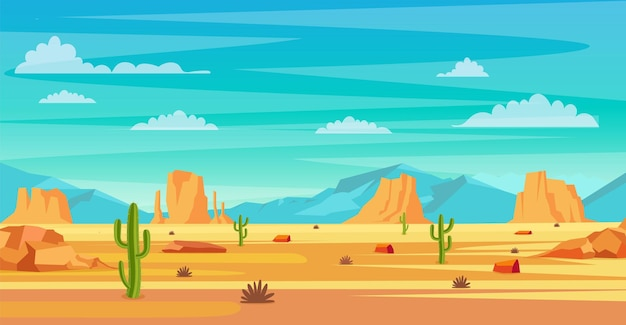 Desert landscape. cactus plants and rocks on the sands. natural background. landscape arizona or mexico hot sand. vector illustration in flat style
