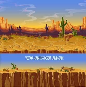 Desert landscape. cartoon poster, banner for game.