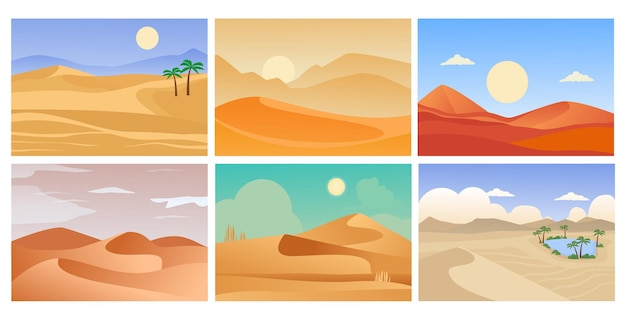 Desert landscape. cartoon tropical exotic s with sand horizon and hot shining sun.