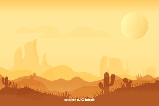 Desert landscape at day time with sun