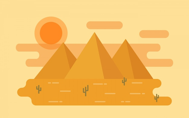 Desert landscape.  illustration in flat .