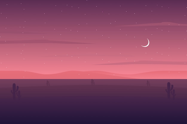 Desert landscape illustration with starry night sky