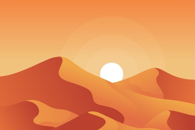 夕焼けのパノラマと砂漠の風景イラスト
