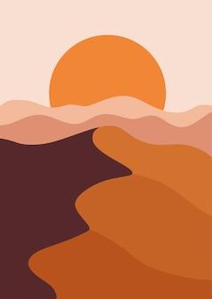 縦長の砂漠の風景、温かみのあるベージュ色。山に沈む夕日とベクトルイラスト。抽象的な風景のポスター。