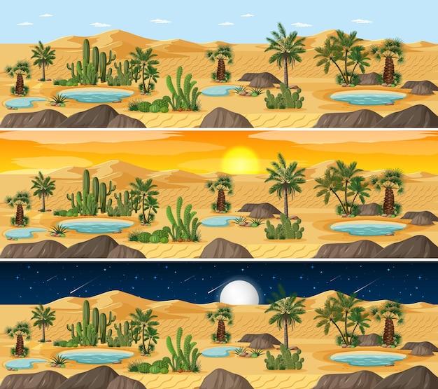 하루에 다른 시간에 사막 풍경