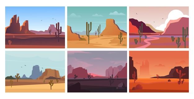 自然の砂漠の風景。朝は砂浜の暑い黄色い砂漠の谷、午後と夕方はピンク色の山々がある水平のオレンジ色のグランドキャニオン、砂浜のサボテン。