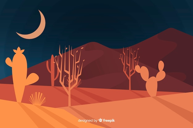 Desert landscape at night background