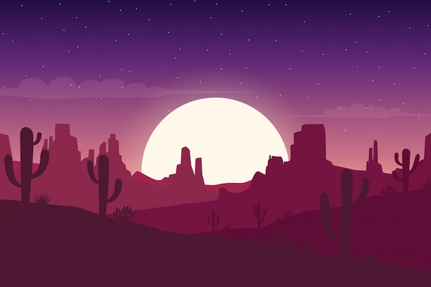 Desert landscape at night with cactus and hills silhouettes