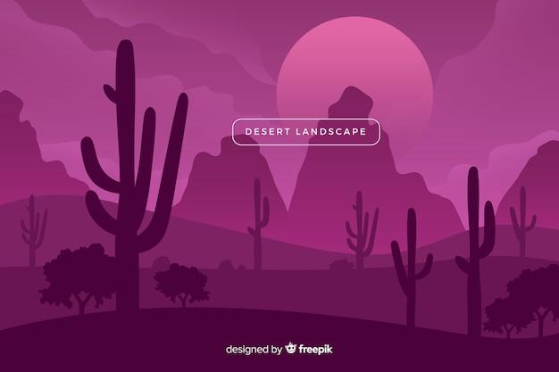 보라색 그늘에 사막 풍경