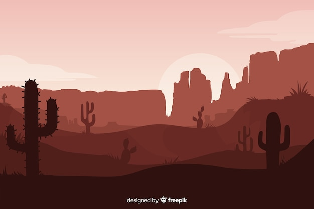 Desert landscape in sepia shades