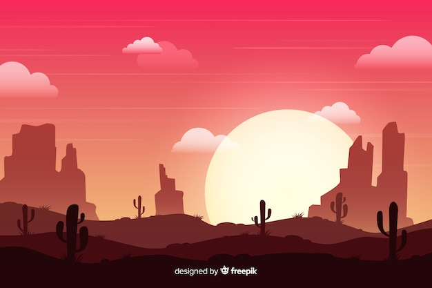 Desert landscape at the sundown