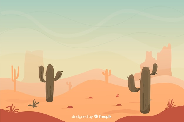 Desert landscape at the sunrise