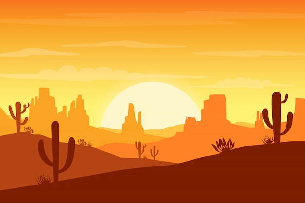 Desert landscape at sunset with cactus and hills