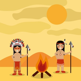 Desert landscape and two native american indian with bonfire