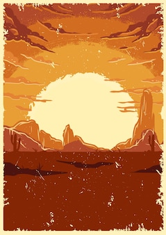 Desert landscape vintage illustration