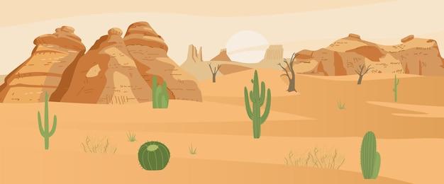 アクタスと砂岩のある砂漠の風景