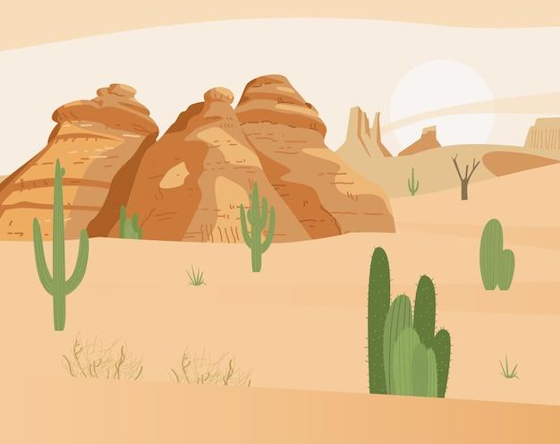 アクタスと砂岩のある砂漠の風景 Premiumベクター