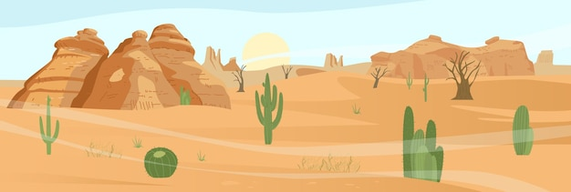 Desert landscape with actus and sand rocks
