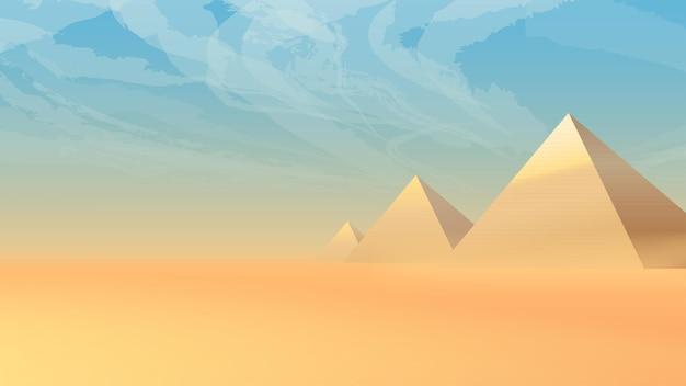 일몰에 고대 피라미드가 있는 사막 풍경
