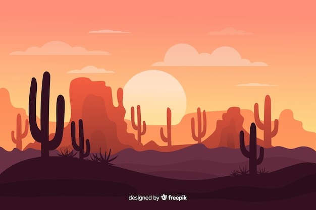 Desert landscape with army of cacti